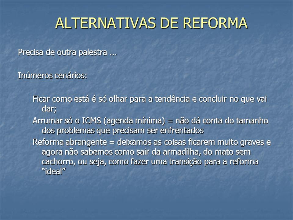 ALTERNATIVAS DE REFORMA Precisa de outra palestra...