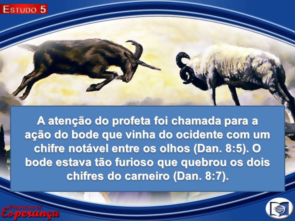 A atenção do profeta foi chamada para a ação do bode que vinha do ocidente com um chifre notável entre os olhos (Dan. 8:5). O bode estava tão furioso