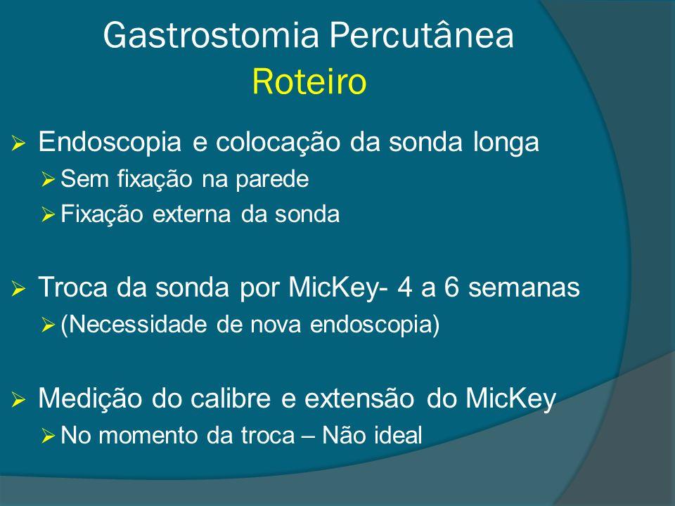 Gastrostomia Percutânea Roteiro Endoscopia e colocação da sonda longa Sem fixação na parede Fixação externa da sonda Troca da sonda por MicKey- 4 a 6