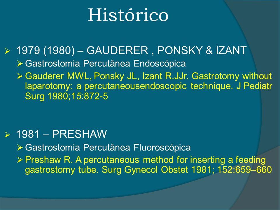 Histórico 1979 (1980) – GAUDERER, PONSKY & IZANT Gastrostomia Percutânea Endoscópica Gauderer MWL, Ponsky JL, Izant R.JJr. Gastrotomy without laparoto