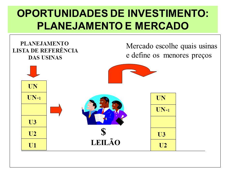 OPORTUNIDADES DE INVESTIMENTO: PLANEJAMENTO E MERCADO PLANEJAMENTO LISTA DE REFERÊNCIA DAS USINAS UN UN- 1 U3 U2 U1 $ UN U3 UN- 1 U2 Mercado escolhe q