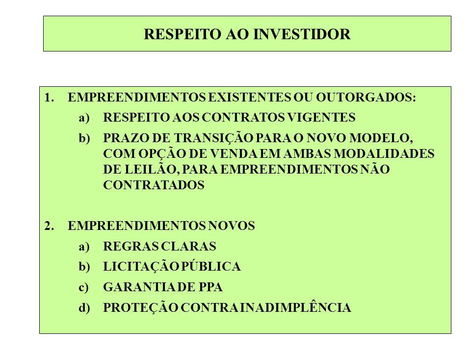 RESPEITO AO INVESTIDOR 1.EMPREENDIMENTOS EXISTENTES OU OUTORGADOS: a)RESPEITO AOS CONTRATOS VIGENTES b)PRAZO DE TRANSIÇÃO PARA O NOVO MODELO, COM OPÇÃ