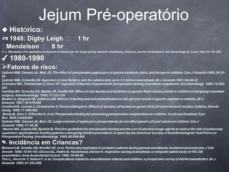 Jejum Pré-operatório Histórico: 1948: Digby Leigh 1 hr Mendelson 8 hr C.