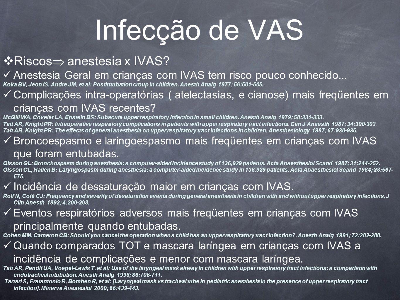 Infecção de VAS Riscos anestesia x IVAS.