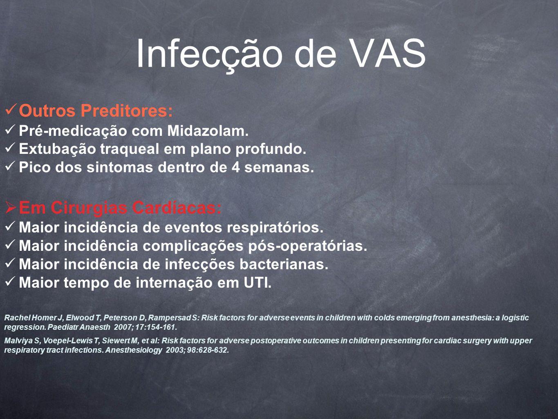 Infecção de VAS Outros Preditores: Pré-medicação com Midazolam.