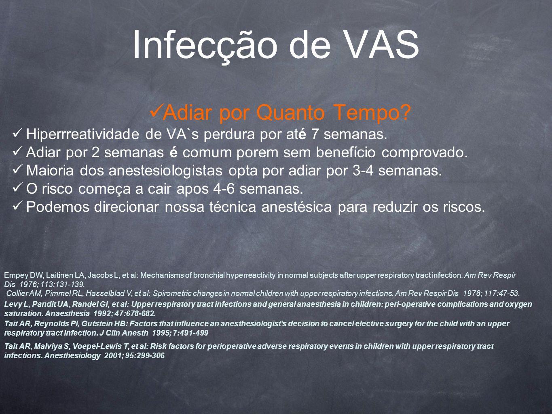 Infecção de VAS Adiar por Quanto Tempo.Hiperrreatividade de VA`s perdura por até 7 semanas.