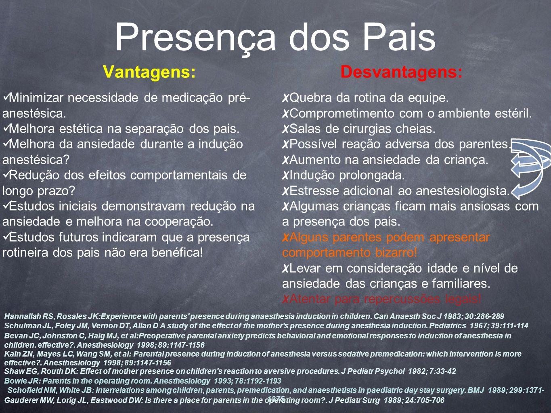 Vantagens: Minimizar necessidade de medicação pré- anestésica.