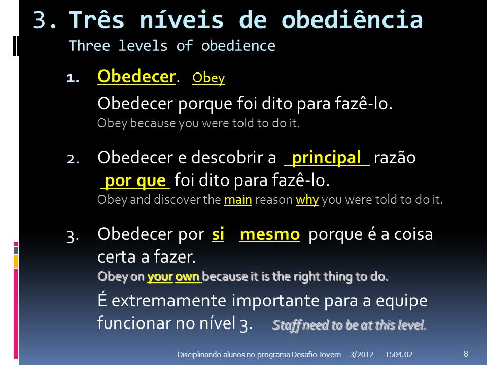3.Três níveis de obediência Three levels of obedience 1. Obedecer. Obey Obedecer porque foi dito para fazê-lo. Obey because you were told to do it. 2.