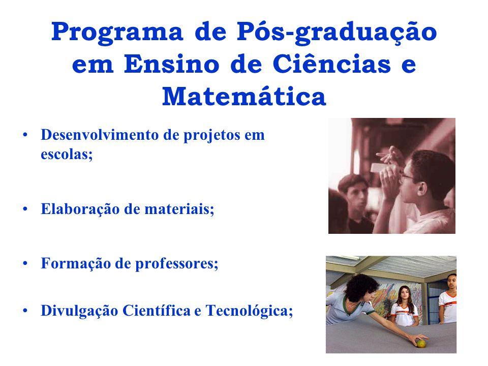 Programa de Pós-graduação em Ensino de Ciências e Matemática Desenvolvimento de projetos em escolas; Elaboração de materiais; Formação de professores;