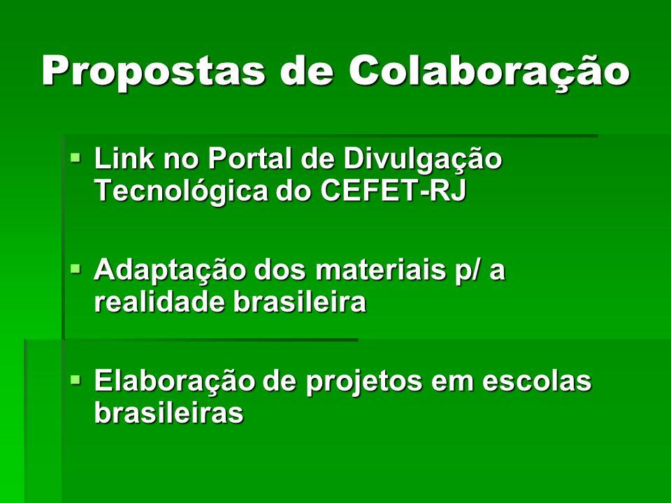 Propostas de Colaboração Link no Portal de Divulgação Tecnológica do CEFET-RJ Link no Portal de Divulgação Tecnológica do CEFET-RJ Adaptação dos mater