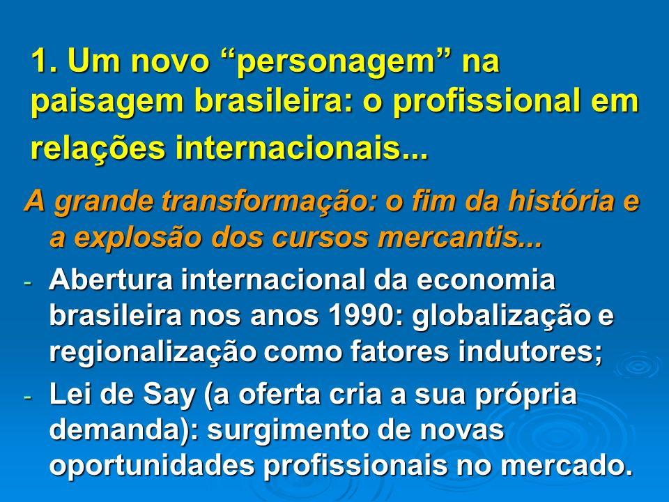 1. Um novo personagem na paisagem brasileira: o profissional em relações internacionais...