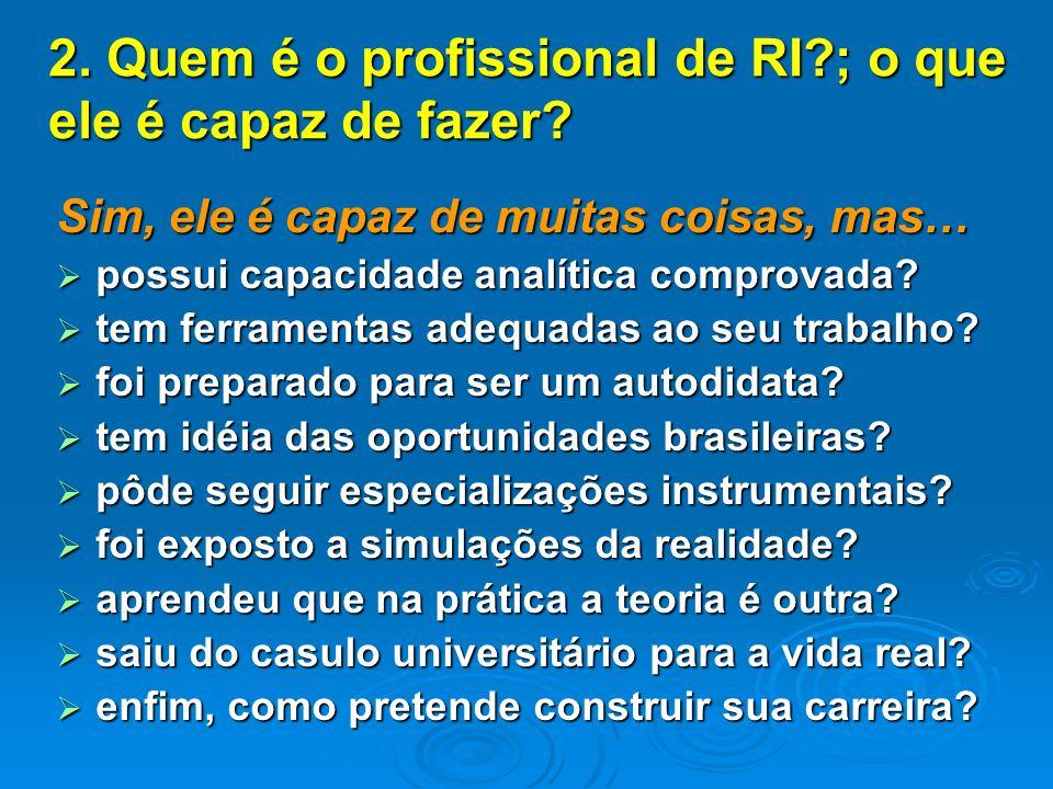 2. Quem é o profissional de RI ; o que ele é capaz de fazer.