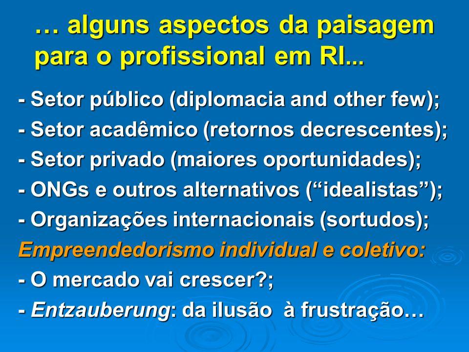 … alguns aspectos da paisagem para o profissional em RI...
