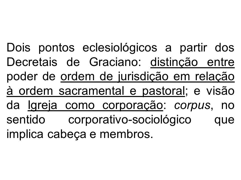 Dois pontos eclesiológicos a partir dos Decretais de Graciano: distinção entre poder de ordem de jurisdição em relação à ordem sacramental e pastoral;