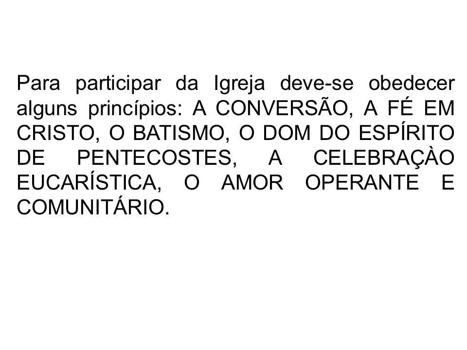 Para participar da Igreja deve-se obedecer alguns princípios: A CONVERSÃO, A FÉ EM CRISTO, O BATISMO, O DOM DO ESPÍRITO DE PENTECOSTES, A CELEBRAÇÀO E