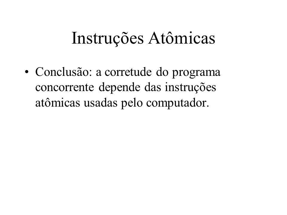 Instruções Atômicas Conclusão: a corretude do programa concorrente depende das instruções atômicas usadas pelo computador.