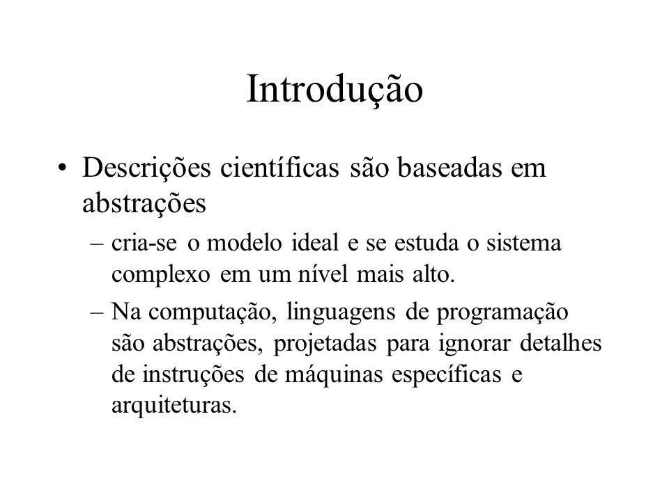 Introdução Descrições científicas são baseadas em abstrações –cria-se o modelo ideal e se estuda o sistema complexo em um nível mais alto. –Na computa