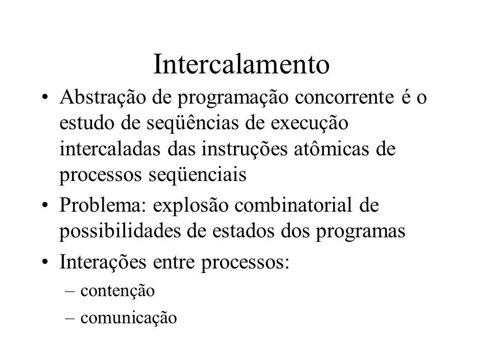 Intercalamento Abstração de programação concorrente é o estudo de seqüências de execução intercaladas das instruções atômicas de processos seqüenciais