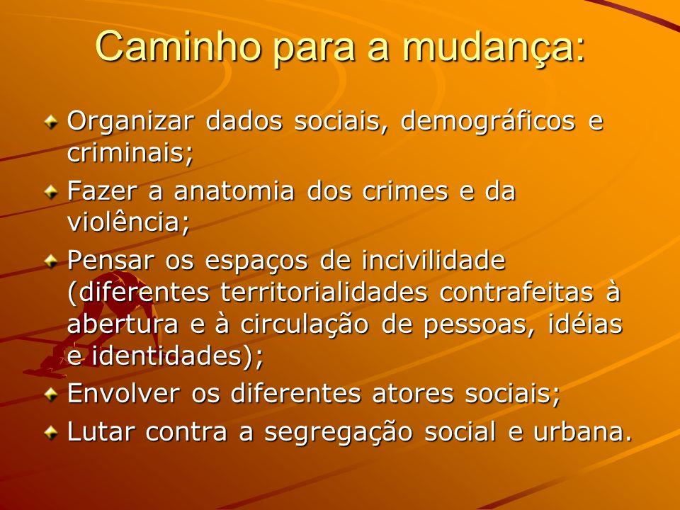 Caminho para a mudança: Organizar dados sociais, demográficos e criminais; Fazer a anatomia dos crimes e da violência; Pensar os espaços de incivilida