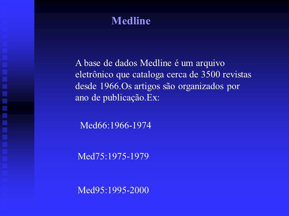 Medline A base de dados Medline é um arquivo eletrônico que cataloga cerca de 3500 revistas desde 1966.Os artigos são organizados por ano de publicação.Ex: Med66:1966-1974 Med75:1975-1979 Med95:1995-2000