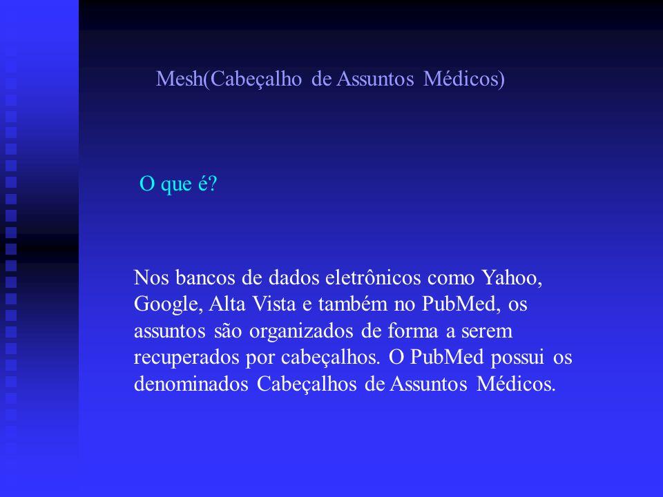 Mesh(Cabeçalho de Assuntos Médicos) O que é? Nos bancos de dados eletrônicos como Yahoo, Google, Alta Vista e também no PubMed, os assuntos são organi