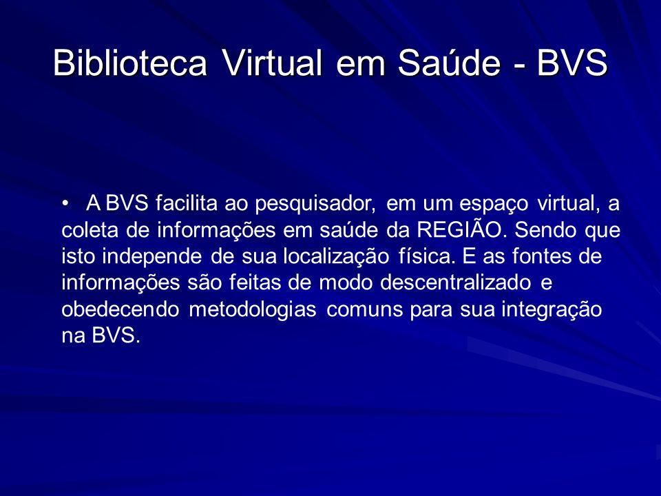Biblioteca Virtual em Saúde - BVS A BVS facilita ao pesquisador, em um espaço virtual, a coleta de informações em saúde da REGIÃO. Sendo que isto inde