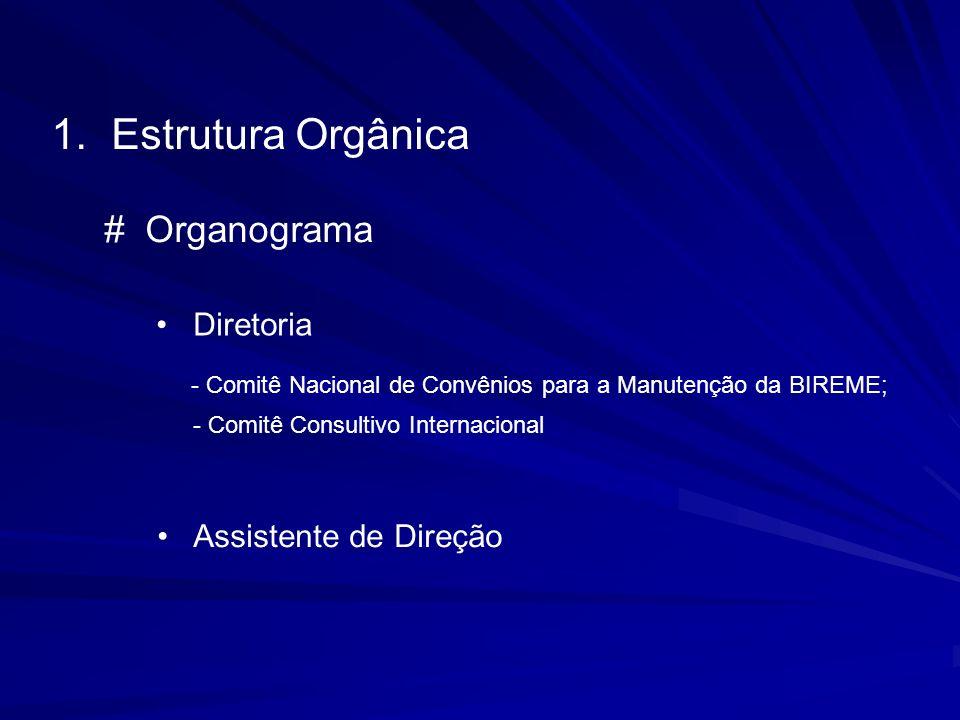 1. Estrutura Orgânica Diretoria - Comitê Nacional de Convênios para a Manutenção da BIREME; Assistente de Direção - Comitê Consultivo Internacional #