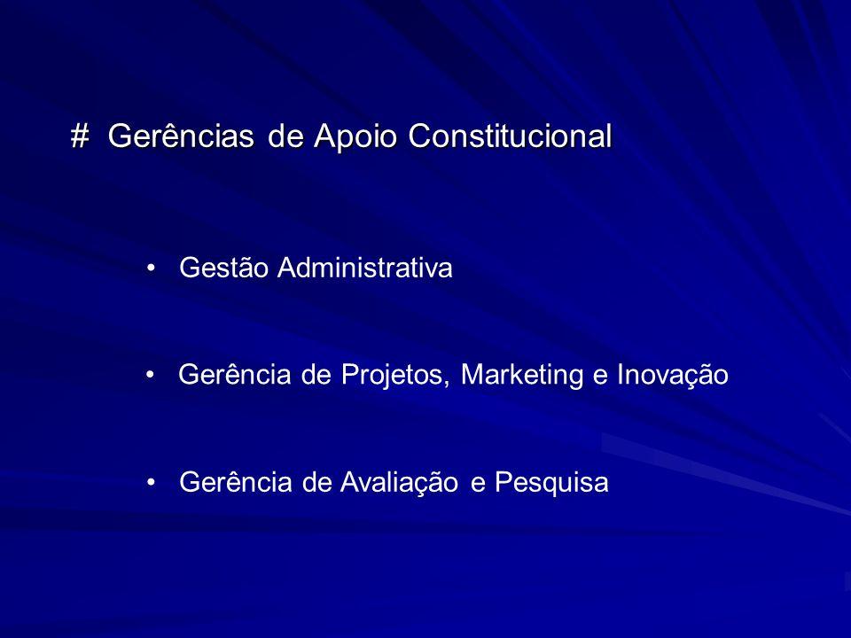 # Gerências de Apoio Constitucional Gestão Administrativa Gerência de Projetos, Marketing e Inovação Gerência de Avaliação e Pesquisa
