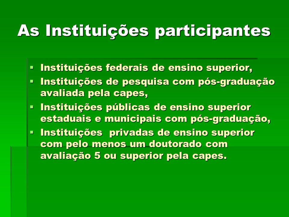 As Instituições participantes Instituições federais de ensino superior, Instituições federais de ensino superior, Instituições de pesquisa com pós-gra