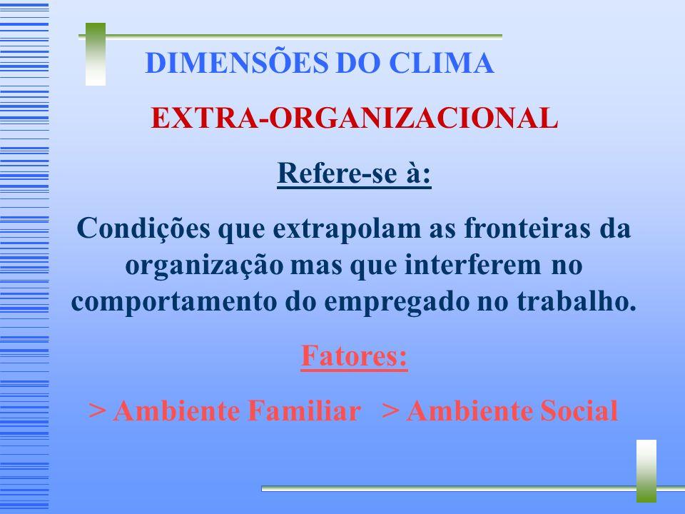 DIMENSÕES DO CLIMA PSICOSSOCIAL - Refere-se à: Manifestação de sentimentos e atitudes individuais ou grupais dos empregados em relação às pessoas, ao