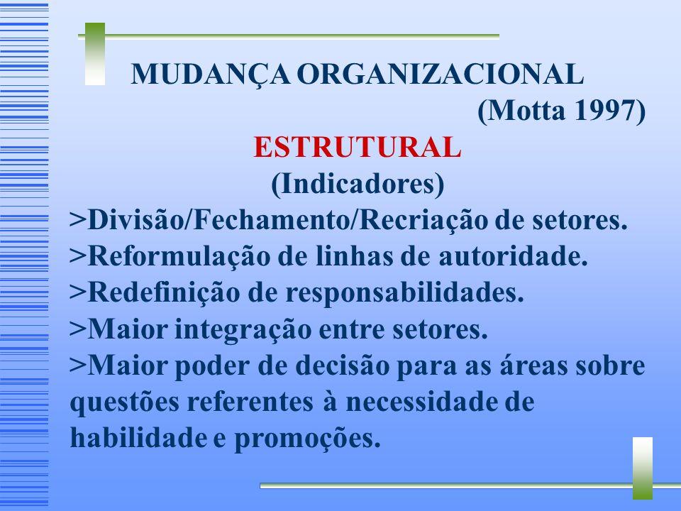 MUDANÇA ORGANIZACIONAL (Motta 1997) TECNOLÓGICA - (Exemplo de indicadores): > Melhorias pela aquisição de novas tecnologias e equipamentos. >Treinamen