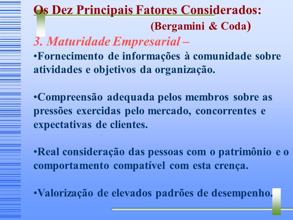 Principais Fatores Considerados no Brasil: (Bergamini & Coda ) 2. Compensação – Balanceamento das diferentes formas de remuneração adotadas pela empre