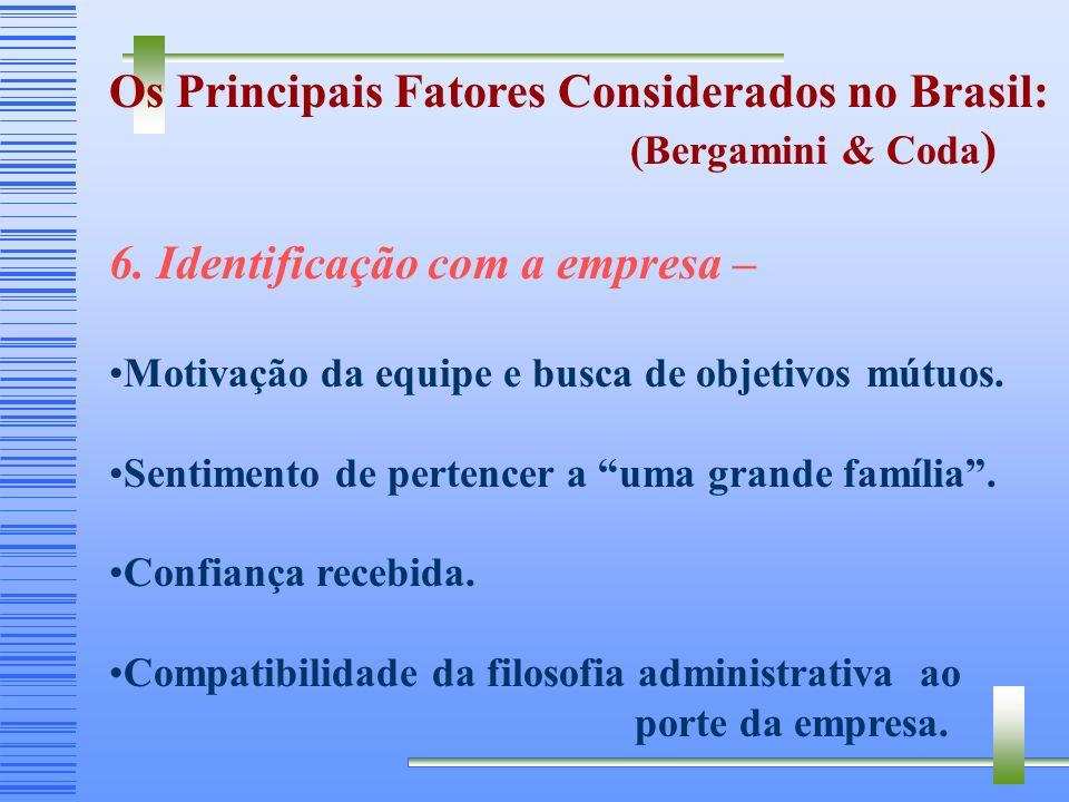 Os Principais Fatores Considerados no Brasil: (Bergamini & Coda ) 5. Valorização profissional – Estímulo à formação e ao desenvolvimento de talentos.