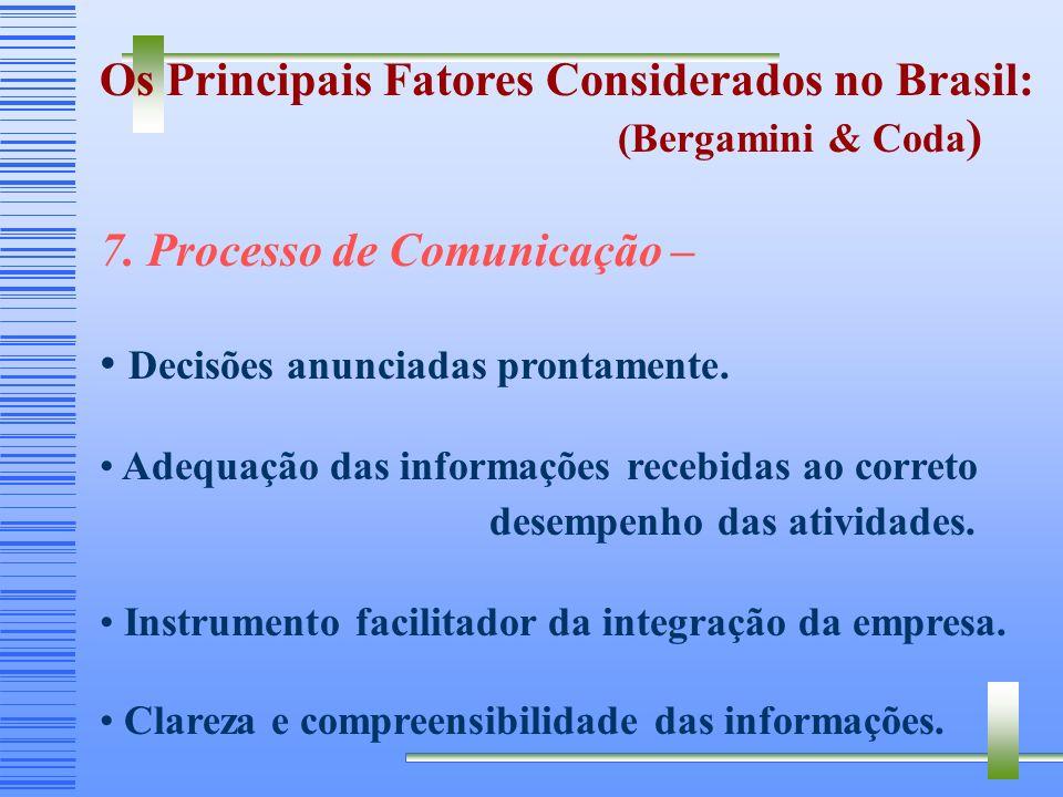 Os Principais Fatores Considerados no Brasil: (Bergamini & Coda ) 6. Identificação com a empresa – Motivação da equipe e busca de objetivos mútuos. Se