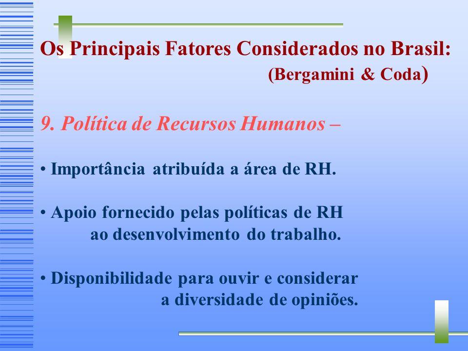 Os Principais Fatores Considerados no Brasil: (Bergamini & Coda ) 8. Sentido do trabalho – Importância atribuída ao que acontece com a organização. Ut