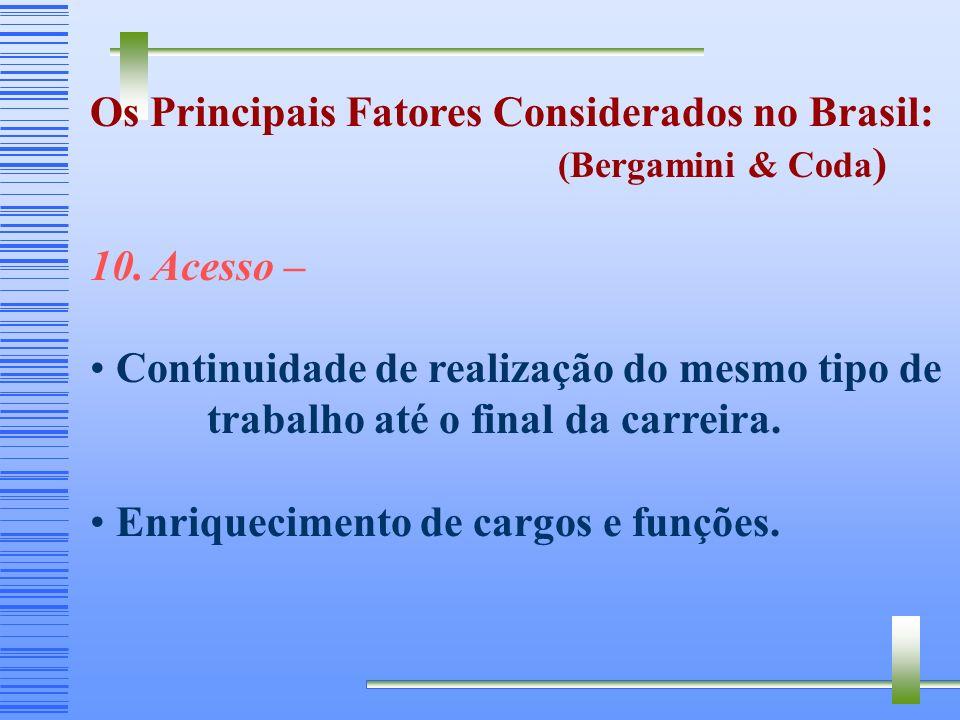 Os Principais Fatores Considerados no Brasil: (Bergamini & Coda ) 9. Política de Recursos Humanos – Importância atribuída a área de RH. Apoio fornecid