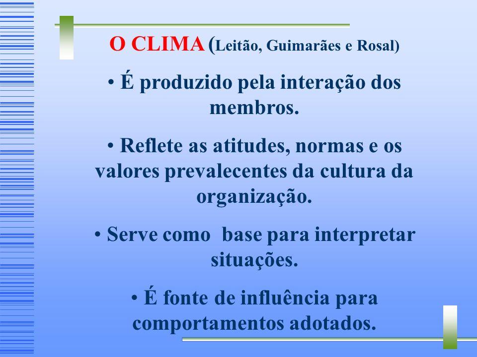 Cultural - O clima é criado por um grupo de indivíduos interagindo, que compartilham uma estrutura de referência abstrata, isto é, a cultura da organi