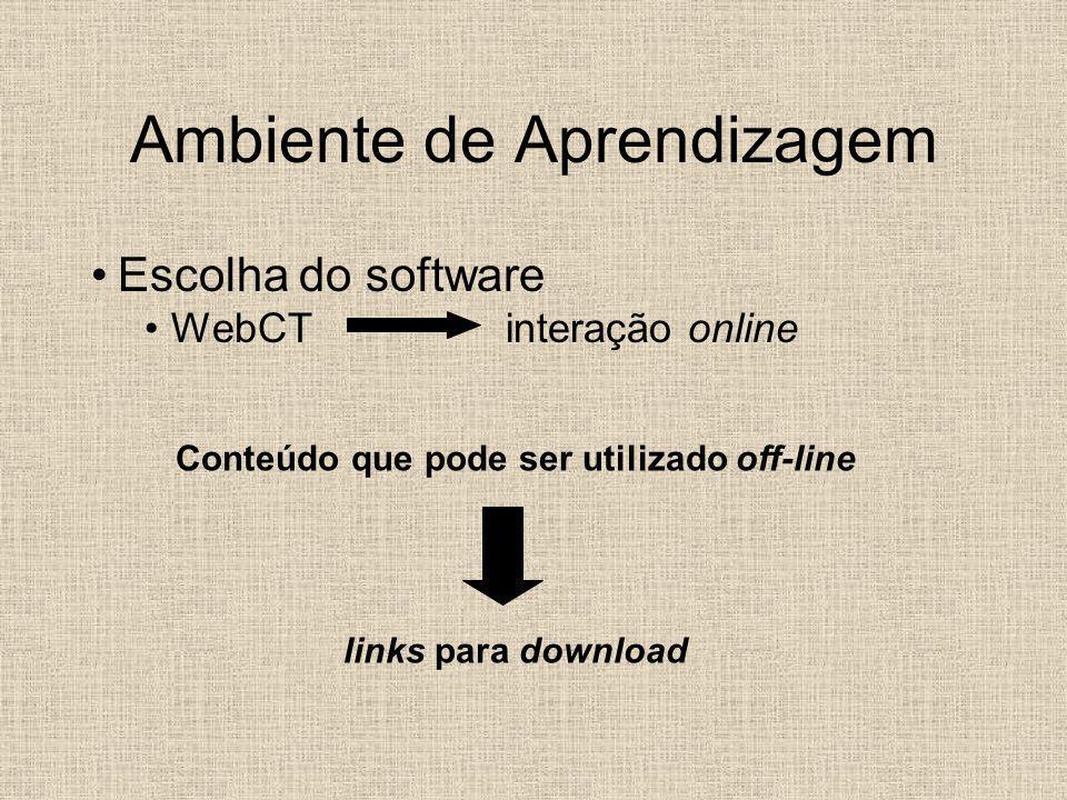 Conteúdo que pode ser utilizado off-line links para download Ambiente de Aprendizagem Escolha do software WebCT interação online