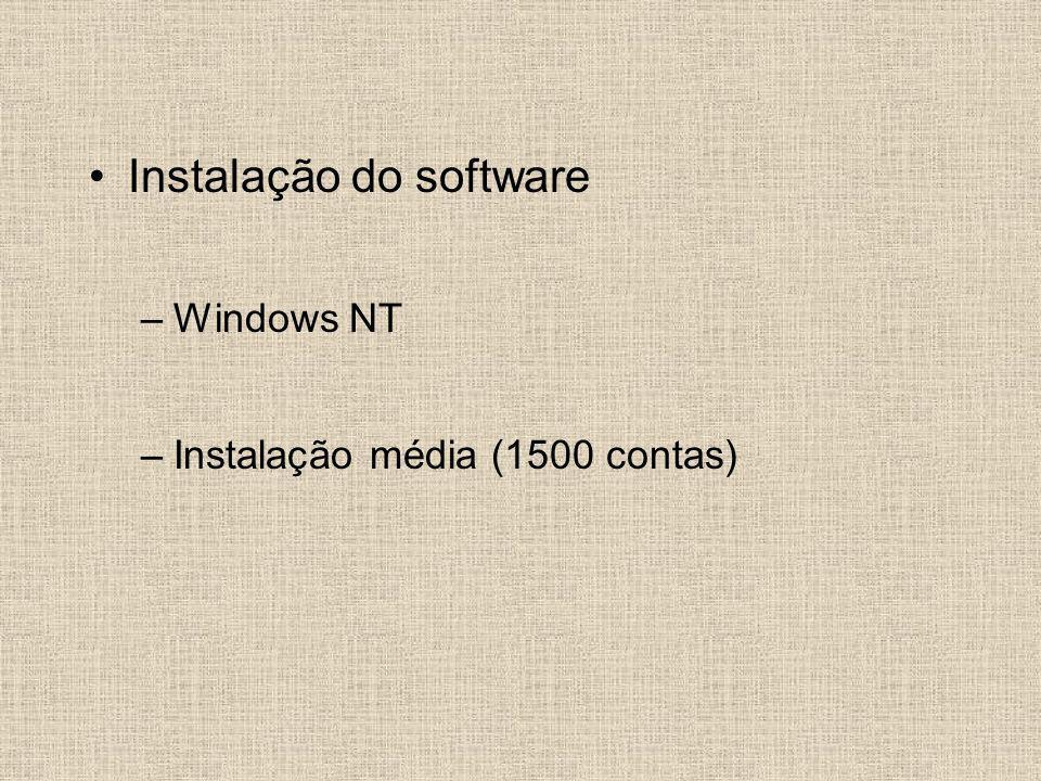 Instalação do software –Windows NT –Instalação média (1500 contas)