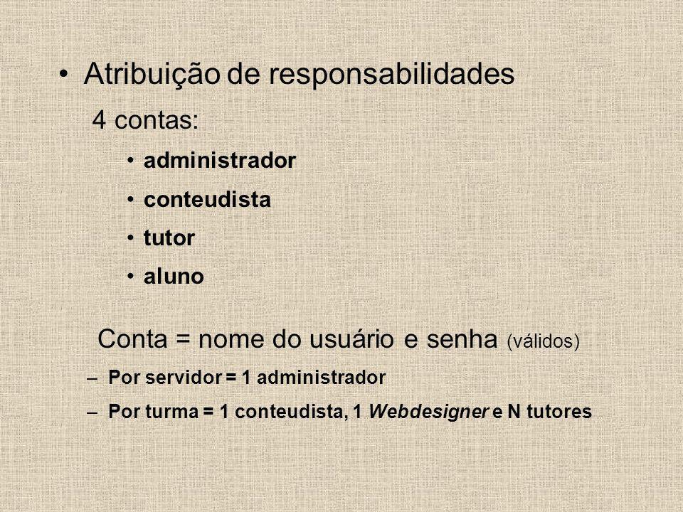 Atribuição de responsabilidades 4 contas: administrador conteudista tutor aluno Conta = nome do usuário e senha (válidos) –Por servidor = 1 administra