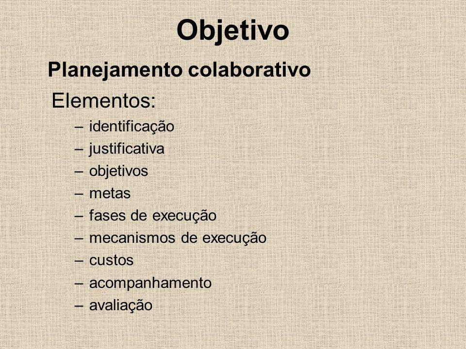 Objetivo Elementos: –identificação –justificativa –objetivos –metas –fases de execução –mecanismos de execução –custos –acompanhamento –avaliação Plan