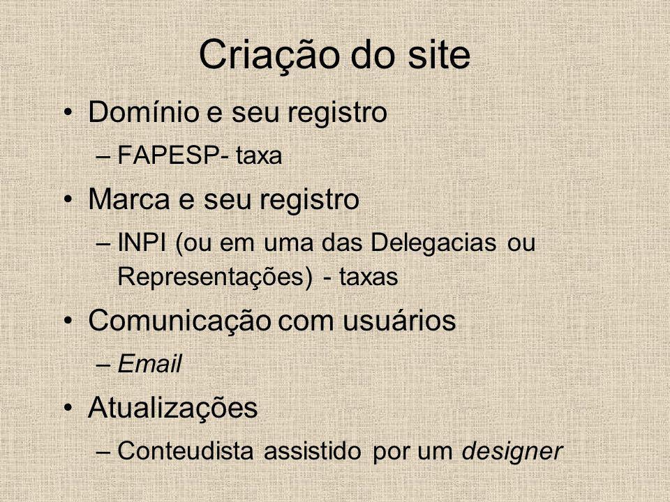 Criação do site Domínio e seu registro –FAPESP- taxa Marca e seu registro –INPI (ou em uma das Delegacias ou Representações) - taxas Comunicação com u