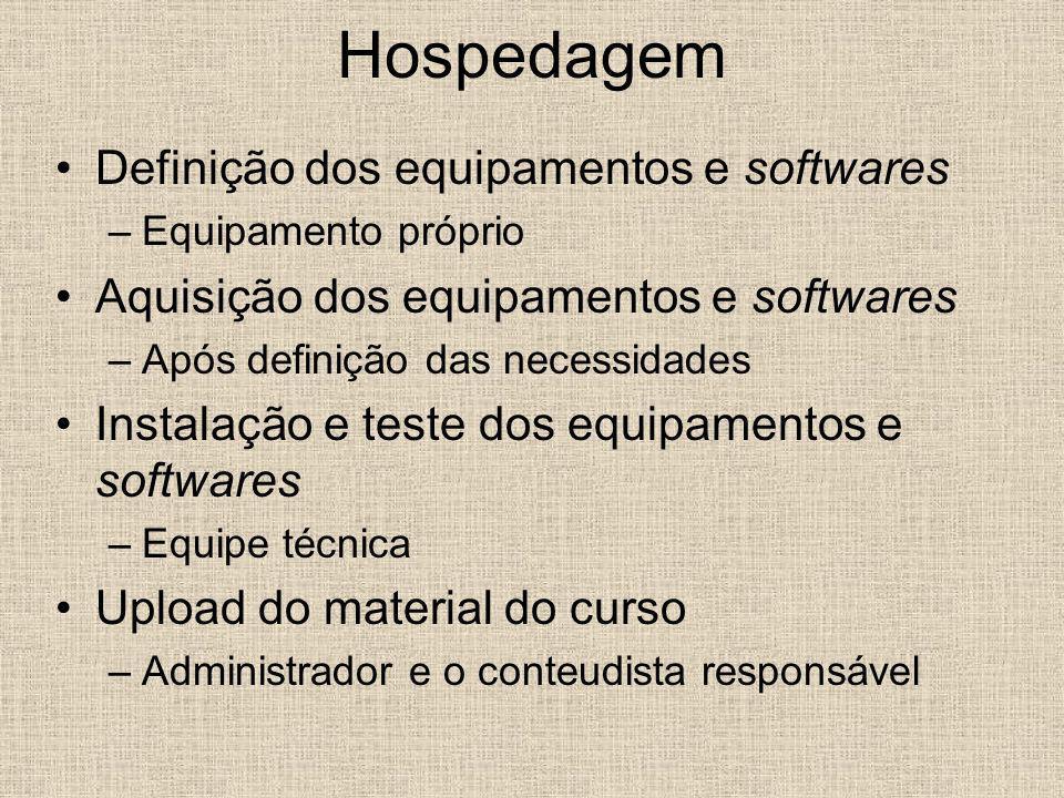 Hospedagem Definição dos equipamentos e softwares –Equipamento próprio Aquisição dos equipamentos e softwares –Após definição das necessidades Instala