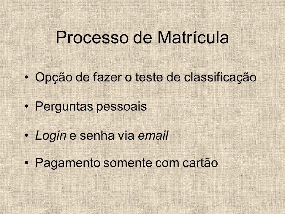 Processo de Matrícula Opção de fazer o teste de classificação Perguntas pessoais Login e senha via email Pagamento somente com cartão
