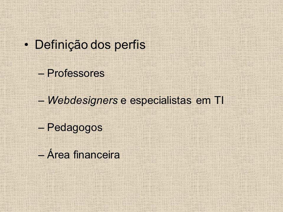 Definição dos perfis –Professores –Webdesigners e especialistas em TI –Pedagogos –Área financeira