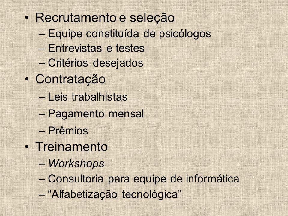 Recrutamento e seleção –Equipe constituída de psicólogos –Entrevistas e testes –Critérios desejados Contratação –Leis trabalhistas –Pagamento mensal –