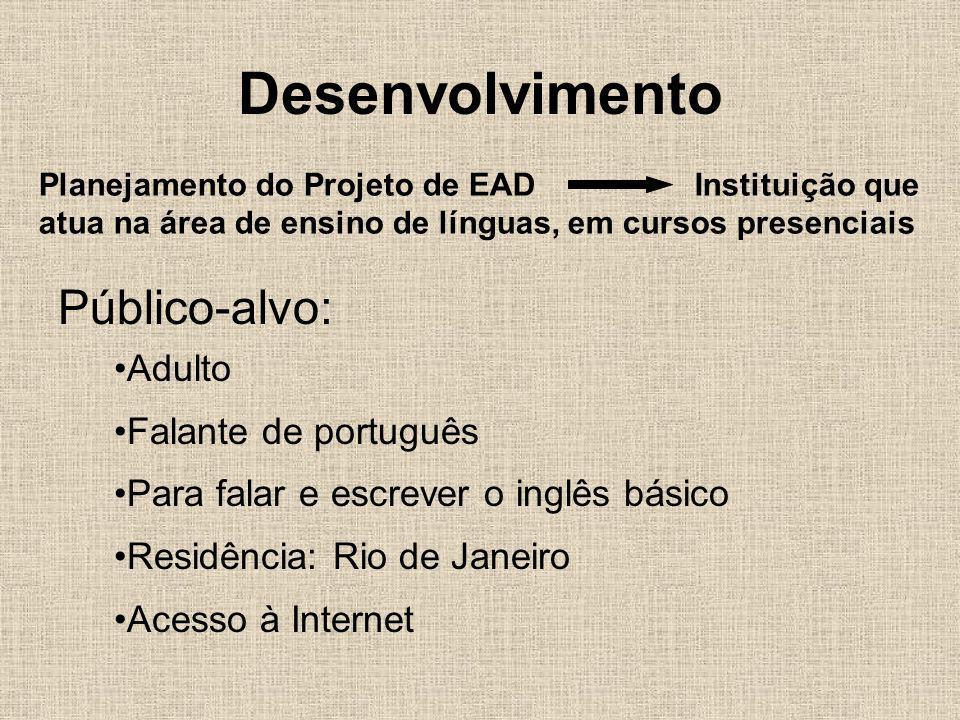 Desenvolvimento Planejamento do Projeto de EAD Instituição que atua na área de ensino de línguas, em cursos presenciais Público-alvo: Adulto Falante d