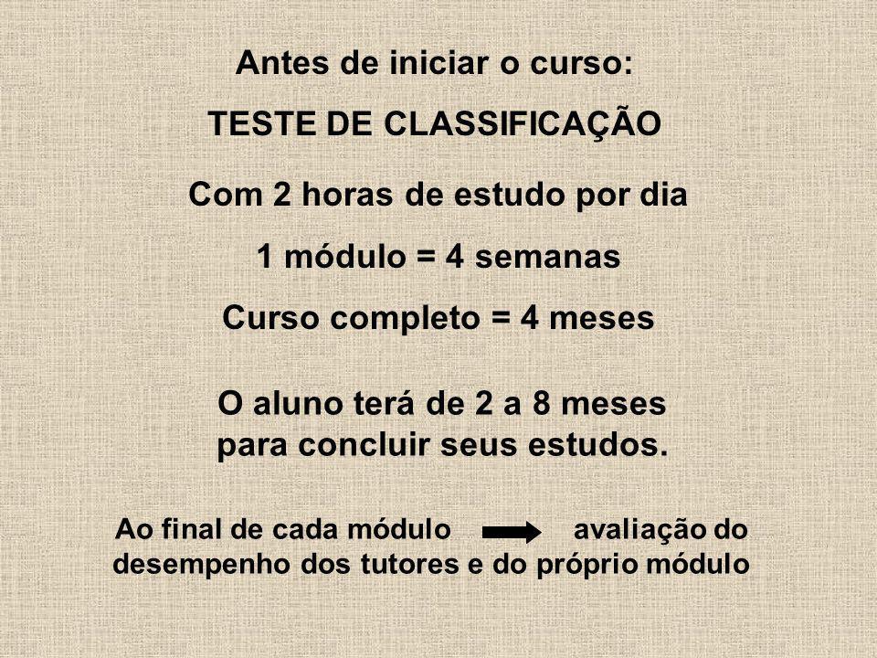 Antes de iniciar o curso: TESTE DE CLASSIFICAÇÃO Ao final de cada módulo avaliação do desempenho dos tutores e do próprio módulo Com 2 horas de estudo