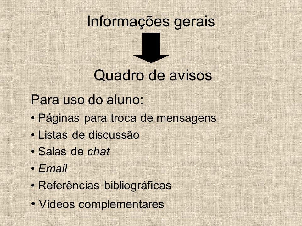 Informações gerais Quadro de avisos Para uso do aluno: Páginas para troca de mensagens Listas de discussão Salas de chat Email Referências bibliográfi