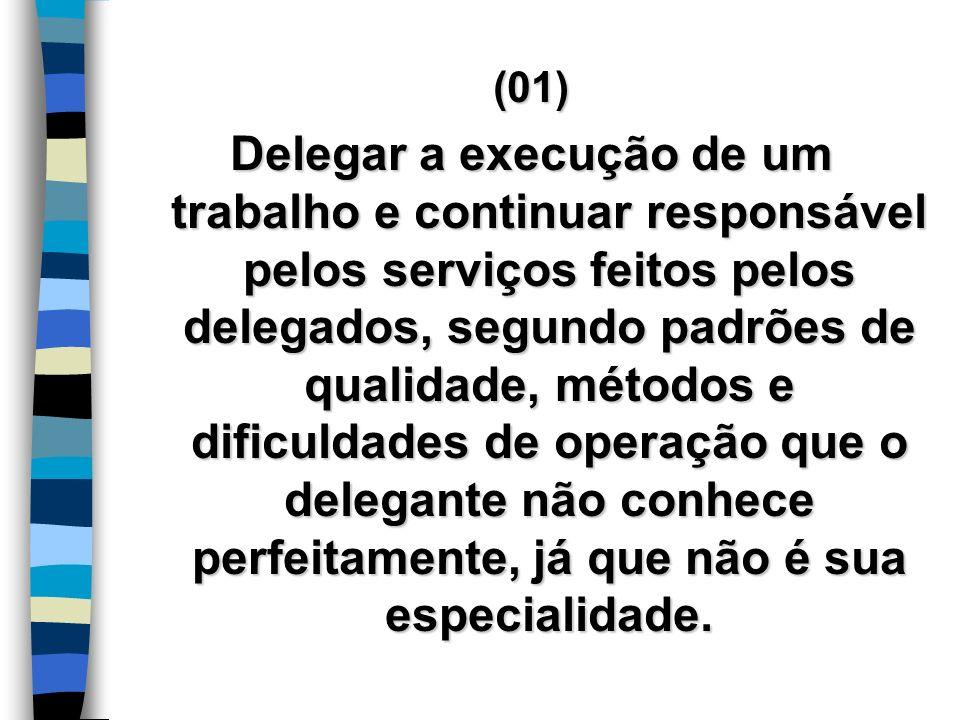 (01) Delegar a execução de um trabalho e continuar responsável pelos serviços feitos pelos delegados, segundo padrões de qualidade, métodos e dificuld